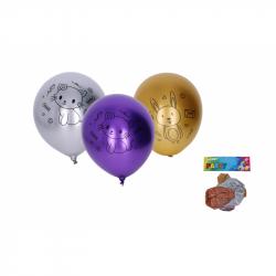 Balónek nafukovací 30cm - sada 5ks, chromový zvířátka