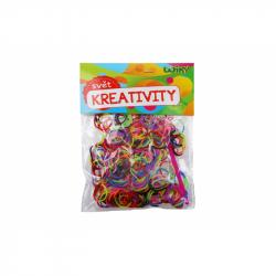 Kúzelné Zaplétač gumičky dvojfarebné, mix farieb 300 ks + príslušen