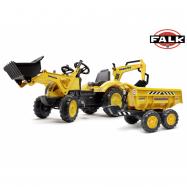 Falk Šlapací traktor 2086W Komatsu s bagrem a Maxi vyklápěcím přívěsem