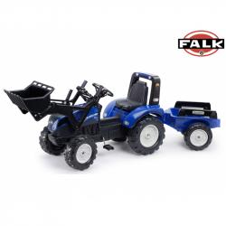 FALK šliapací traktor 3090 New Holland T8 s nakladačom a vlečkou