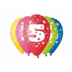 Balónek nafukovací - sada 5ks ČÍSLO