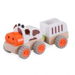 Drevený Mini traktor kravička
