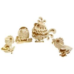 Devěné skládačky 3D puzzle nábytek a ostatní - Kuřátka