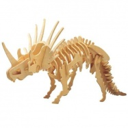Drevené 3D puzzle skladačka dinosaury - Styracosaurus J006