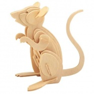 Dřevěné 3D puzzle dřevěná skládačka zvířata - Myš M001