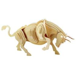 Drevené 3D puzzle drevená skladačka zvieratá - Býk M002