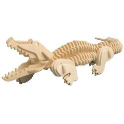 Drevené 3D puzzle drevená skladačka zvieratá - Krokodíl M013