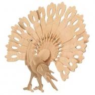 Dřevěné 3D puzzle dřevěná skládačka zvířata - Páv M014