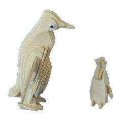 Drevené 3D puzzle drevená skladačka zvieratá - Tučniak M030