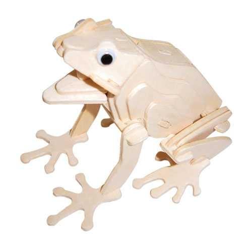 Dřevěné 3D puzzle dřevěná skládačka zvířata - Žába M044