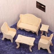 Dřevěné skládačky 3D puzzle - Obývací pokoj P008
