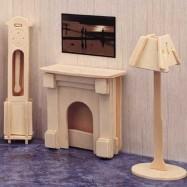 Dřevěné skládačky 3D puzzle nábytek a ostatní - Krb P009
