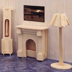 Drevené skladačky 3D puzzle nábytok a ostatné - Krb P009