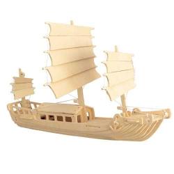 Drevené 3D puzzle -drevená skladačka Čínska plachetnica P045