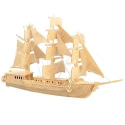 Drevené 3D puzzle - drevená skladačka - loď Plachetnica P049