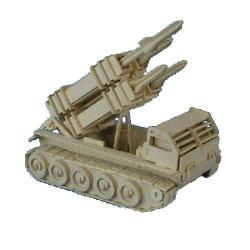 Drevené 3D puzzle drevená skladačka autá - Raketový P052