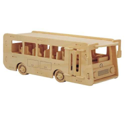 Dřevěné 3D puzzle dřevěná skládačka auta - Autobus P092