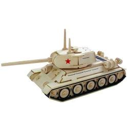 Dřevěné 3D puzzle dřevěná skládačka auta - Tank T-34 P175