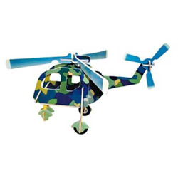 Drevené skladačky 3D puzzle lietadlá - Vrtuľník PC001