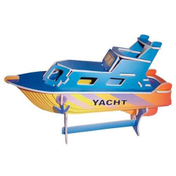 Drevené 3D puzzle lode - drevená skladačka - Jachta PC041