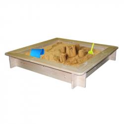 Pískoviště dřevěné - čtvercové, natur, se sítí, 120x120cm