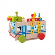 Drevené hračky Woody - Montážny autobus s náradím