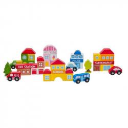Dřevěné hračky - Příslušenství k dráze - město