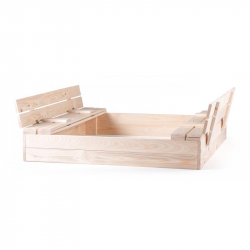 Pieskovisko drevené s krytom, s 2 lavicami, natur