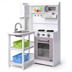 Rohová kuchyňka s plastovými koši, bílá
