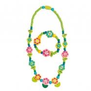 Zestaw 6 sztuk - Zestaw naszyjnik i bransoletka - Kwiaty z płatkami