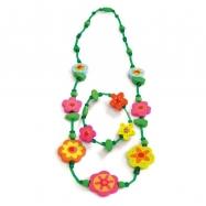 Set 6ks - Souprava náhrdelník a náramek - Zelený s květinami
