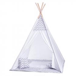 Duży namiot tipi biało-szary z poduszkami