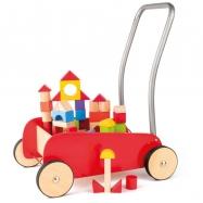 Kolorowy wózek z drewnianymi klockami