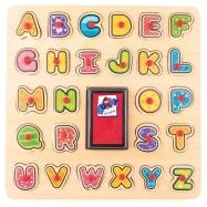 Puzzle drewniane ABC i stempelki z tuszem