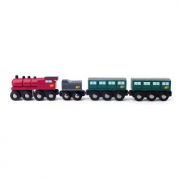 Parní lokomotiva s uhlím a osobními vagony