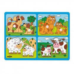 Puzzle pre najmenších s úchytmi - domáce zvieratá s mláďatami