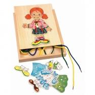 Dřevěné hračky Woody - Puzzle Šněrovací šatní skříň Holčička