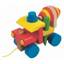 Dřevěné barevné auto Woody - Montážní automíchačka