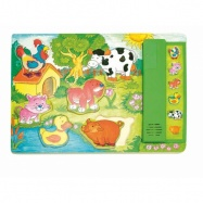 Dřevěné hračky - Muzikální puzzle zelené Zvířátka