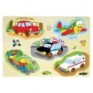 Dřevěné hračky - Muzikální puzzle Dopravní prostředky