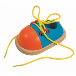 Dřevěné hračky - motorické hry - Šněrovací botička