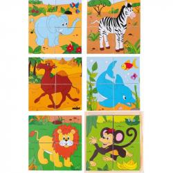 Dřevěné obrázkové kostky kubusy - Kubus 2x2 -Safari