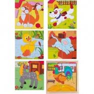 Drevené obrázkové kocky kubusy - Kubus 2x2 Statok