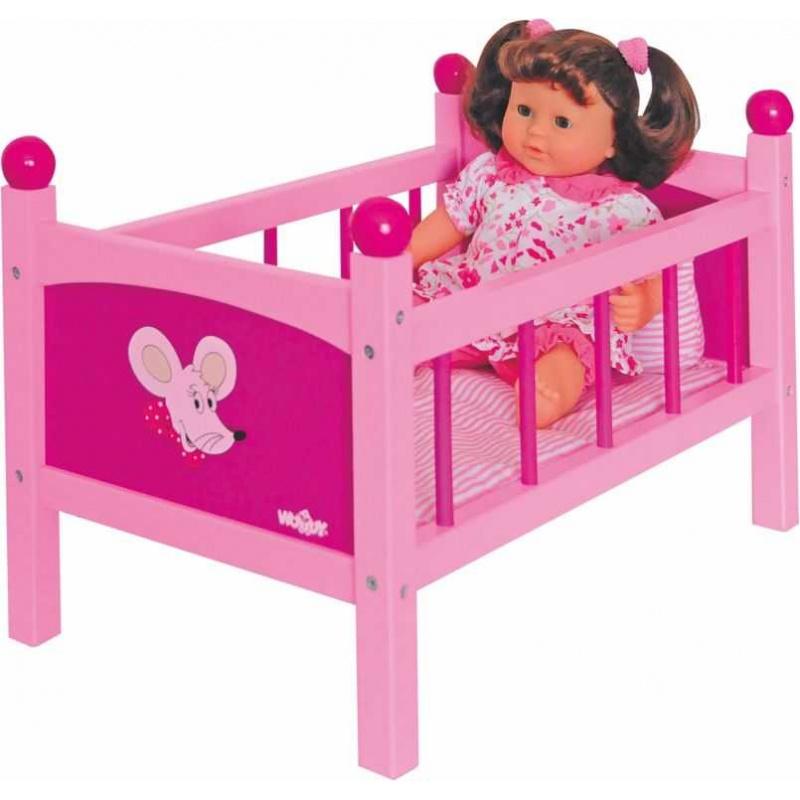 Dřevěné hračky - Postýlka pro panenku s peřinkami - Trendy