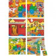 Dřevěné obrázkové kostky kubusy - Kubus 4x4 Mašinka