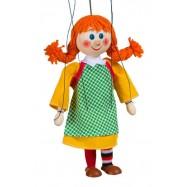 Marionetka drewniana, Dziewczynka w warkoczach, 20 cm