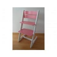 Detská rastúca stolička JITRO KLASIK bielo ružová