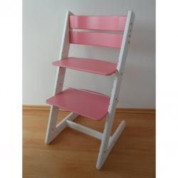 Dětská rostoucí židle JITRO KLASIK bílo růžová