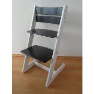 Detská rastúca stolička JITRO KLASIK bielo čierna