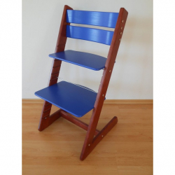 Detská rastúca stolička JITRO KLASIK mahagónový modrá